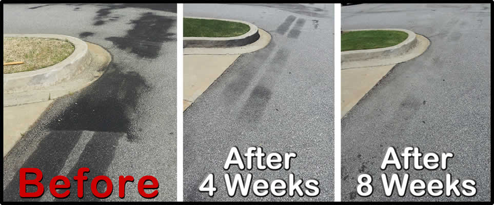 hydraulic oil stain removal from asphalt